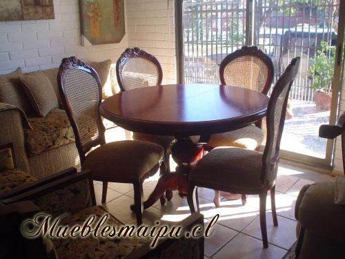 Muebles mueblesmaipu comedores for Juego de comedor redondo en madera